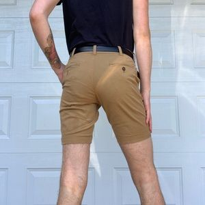 Tan slim fit khaki shorts